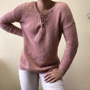 AMERICAN EAGLE Pink Lace Up Sweater